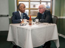 Reverend Al Sharpton having breakfast with Presidential candidate Bernie Sanders in Sylvia's Restaurant in Harlem, NYC.