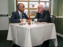 Reverend Al Sharpton having breakfast with Presidential candidate Bernie Sanders in Sylvia's Restaurant in Harlem, NYC.