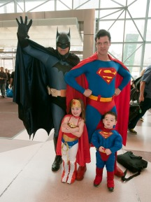 John Whitt as Batman and Greg Carlson as Superman, getting ready to enter Comic Con at the Javits Center, NYC.