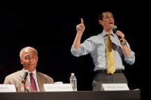 Bill Thomson and Anthony Weiner at a Mayoral Forum, held at the Lighthouse, 111 East 59th Street, NYC.