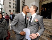 Andrew Davis and Alexis Bessonart after getting married on 11/12/13 at the Office of the City Clerk ( 'City Hall' ) on Centre Street, NYC.