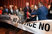 041316-NAN25-DM-1 Reverend Al Sharpton and mayor Bill de Blasio cutting ribbon at National Action Network 25th Anniversary convention at Sheraton Hotel, NYC. David McGlynn 4/13/16