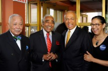 060313-THOMPSON-DM-1.jpg Former NYC Mayor David Dinkins and Congressman Charles Rangel announce their support for Bill Thompson for mayor today at Sylvia's restaurant in Harlem, NYC. From left to right: David Dinkins, Charles Rangel, Bill Thompson, and Elsie McCabe Thompson David McGlynn 6/3/13