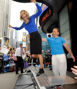 061312-WALLENDA-DM-1.jpg Good Morning America anchor Lara Spencer falling off tightrope at GMA's press event in advance of Daredevil Nik Wallenda's Niagara Falls Tightrope Walk, West 44th Street & Broadway, NYC. On right: Nik Wallenda. David McGlynn 6/13/12