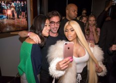 090817-MONSE-SHOW-DM-35 Scenes from the Monse Fashion Show at Eugene, during Fashion Week, 435 West 31st Street, NYC. Here: Monse creative directors Laura Kim (left) and Fernando Garcia (middle) doing selfie with Nicki Minaj. David McGlynn 9/8/17