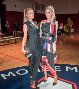 090817-MONSE-SHOW-DM-8 Scenes from the Monse Fashion Show at Eugene, during Fashion Week, 435 West 31st Street, NYC. Here: just before show with Paris Hilton and Nicky Hilton. David McGlynn 9/8/17