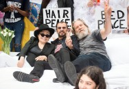 091318-COMETOGETHER-DM-4 Yoko Ono, Ringo Starr, and Jeff Bridges in bed outside City Hall, first stop on the Come Together NYC bus tour. David McGlynn 9/13/18.