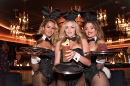091418-PLAYBOY-CLUB-DM-1 Scenes from inside the new Playboy Club NYC at 512 West 42nd. Street. Here: Playboy Bunnies holding signature drinks, left to right: the Decadence (Manhattan), A Bunny Thing (Rum Punch), and El Hefe (made with Mezcal El Diablo) David McGlynn 9/14/18