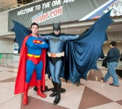 101013-COMICCON-DM-1 Greg Carlson as Superman and John Whitt as Batman, both from Minneapolis, getting ready to enter Comic Con at the davits Center, NYC. David McGlynn 10/10/13