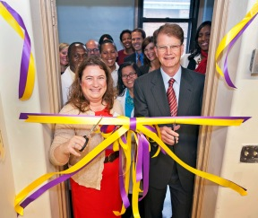 102512-NOVARTIS-LINK-1.jpg Robert Pelzer (right), U.S. head of Novartis, and Maria Paradiso (left), head of Link Community School, officially unveil the Novartis Science Lab and Science Wing in a ceremony at Link Community School. David McGlynn 10/15/12