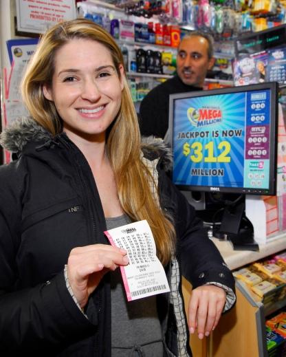 O32411-MEGA-DM-1.jpg Bonnie Schneider purchasing (10) Mega-Million Lottery tickets at the Pyramid Deli located at 214 West 96th Street, NYC. David McGlynn 3/24/11